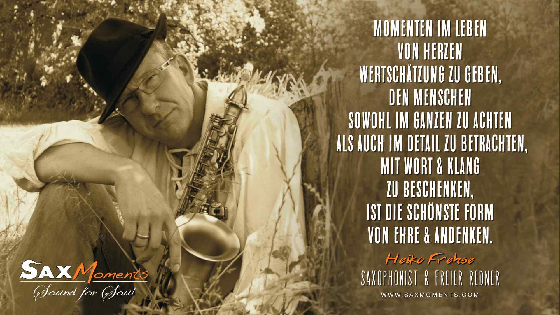 Heiko Frehse, freier Trauerredner & Saxophonist in Hamburg, Lüneburg und Kaltenkirchen.